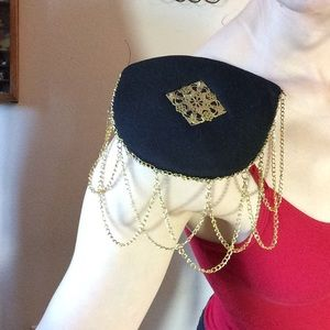 Vintage Jewelry - Pin on Shoulder Pads With Golden Dangle Chains